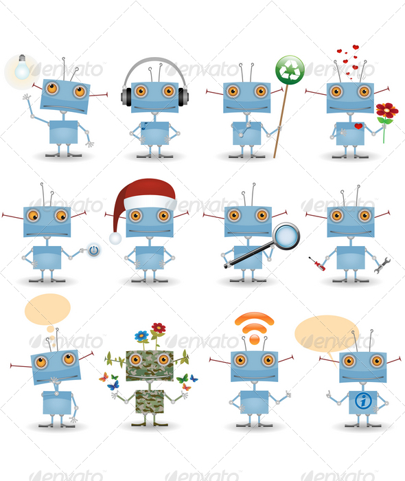 GraphicRiver Cartoon Robot Set 953729