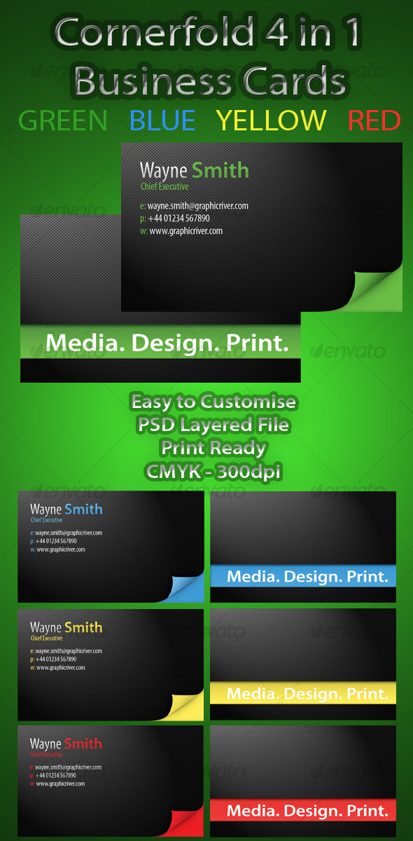 CornerFold 4 in 1 Professional Business Card - Creative Business Cards
