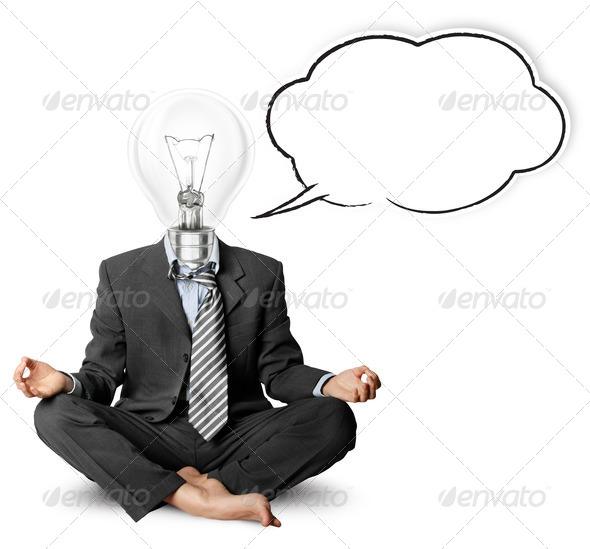 Stock Photo - PhotoDune lamp-head businessman in lotus pose with speech bubble 954097