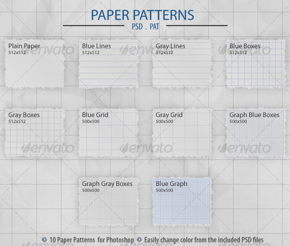 Paper Patterns - Textures / Fills / Patterns Photoshop