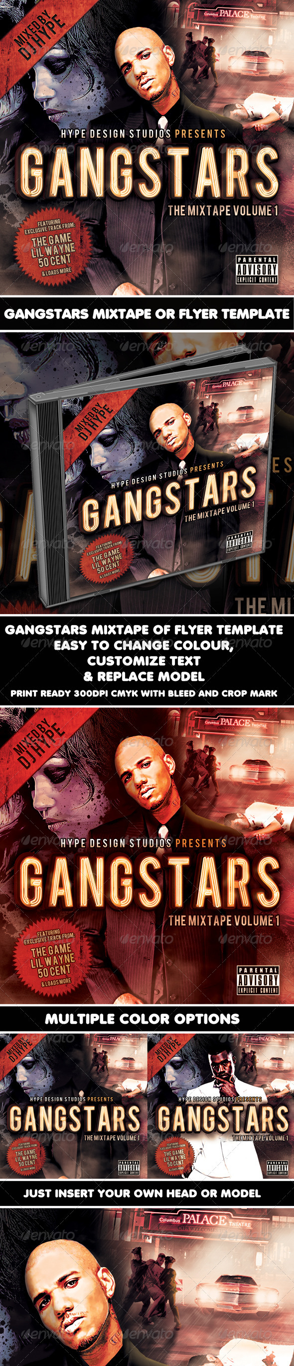 GraphicRiver Gangstars Mixtape or Flyer Template 956936