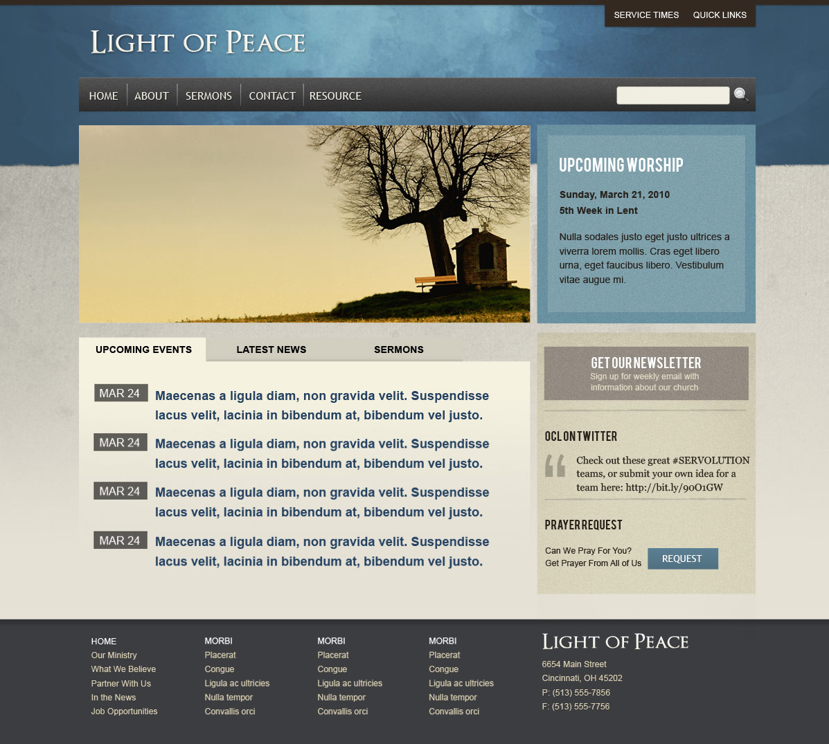 Light of Peace - Wordpress Template - This is the style 3 homepage template.