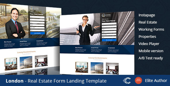 London Real Estate Landing Page by CoralixThemes   ThemeForest