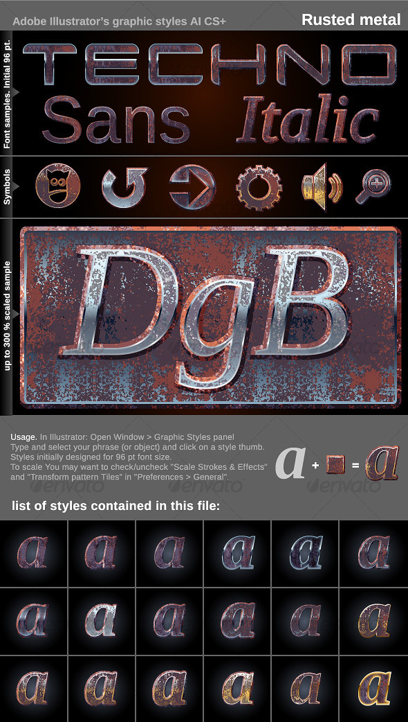 GraphicRiver Illustrator Graphic Styles Rusted metal 120823