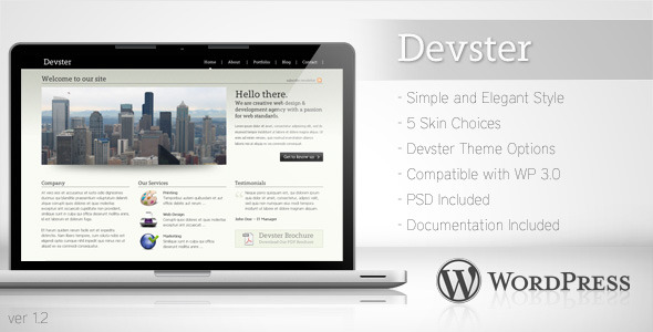 ThemeForest Devster Simple Business Wordpress Theme 97529