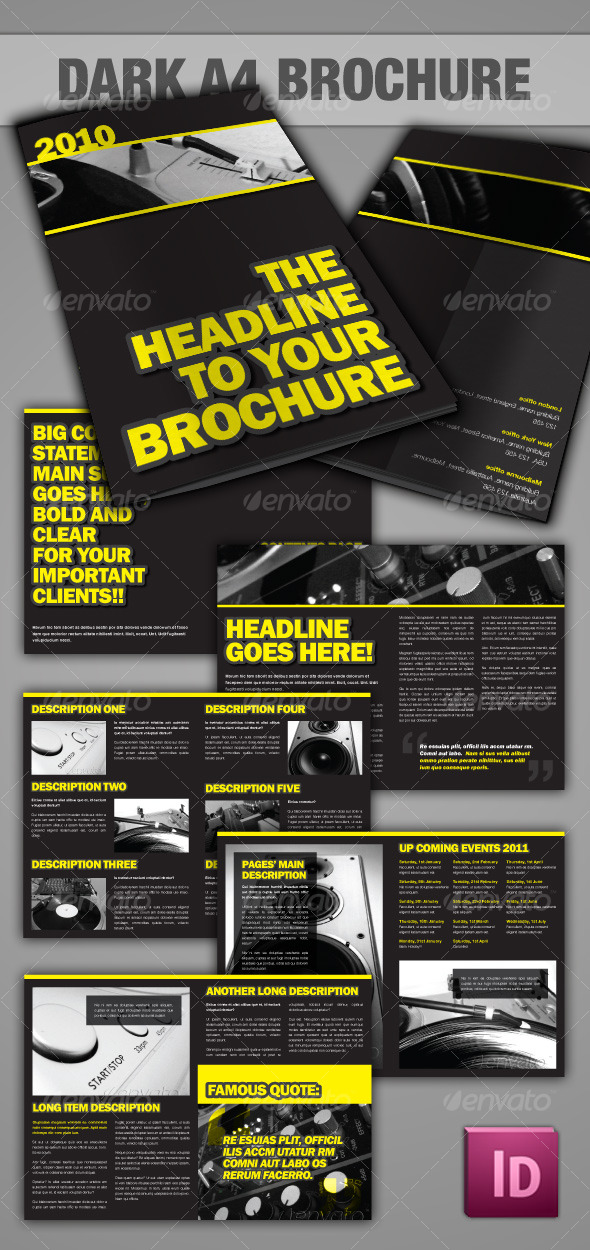 Dark A4 Brochure - InDesign - Corporate Brochures