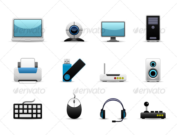 GraphicRiver Computer Set Icon Vector 121451