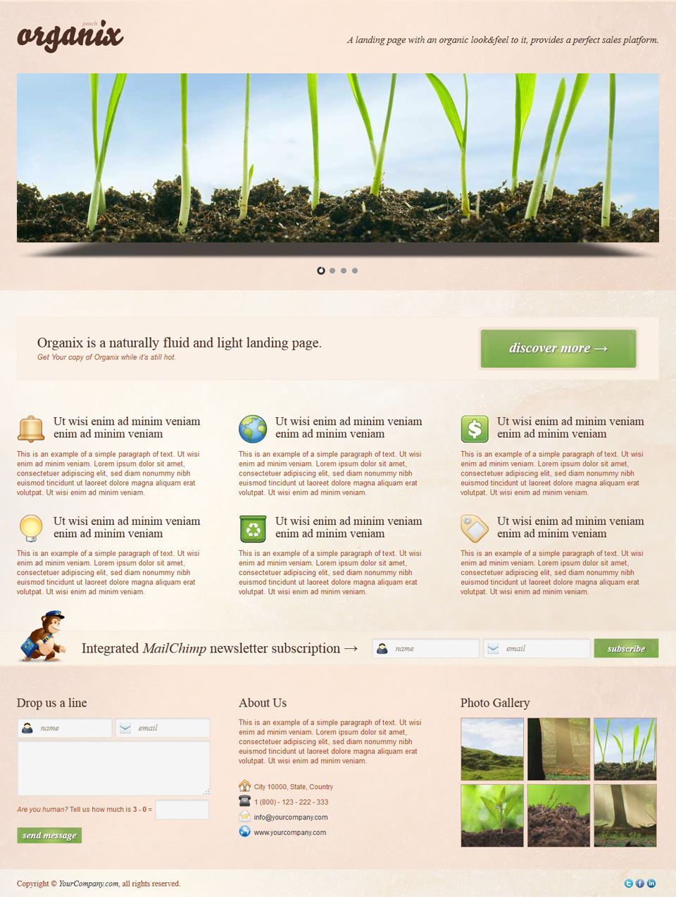 Organix - Simple Product Oriented Landing Page - Organix - Peach 3D Slider