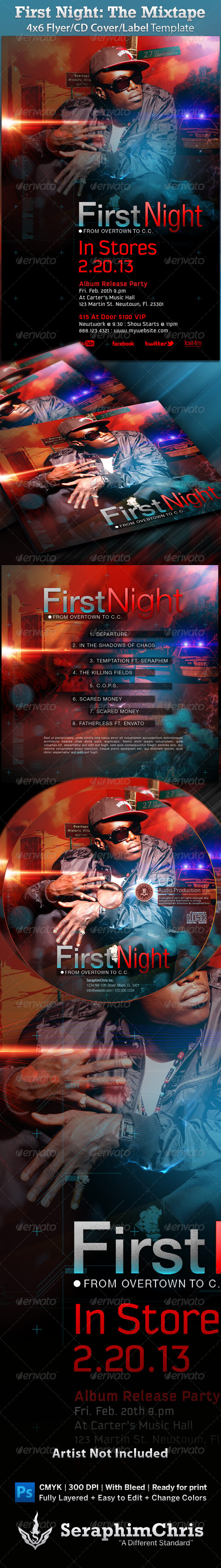 Mixtape/Album/Flyer: First Night - CD & DVD artwork Print Templates