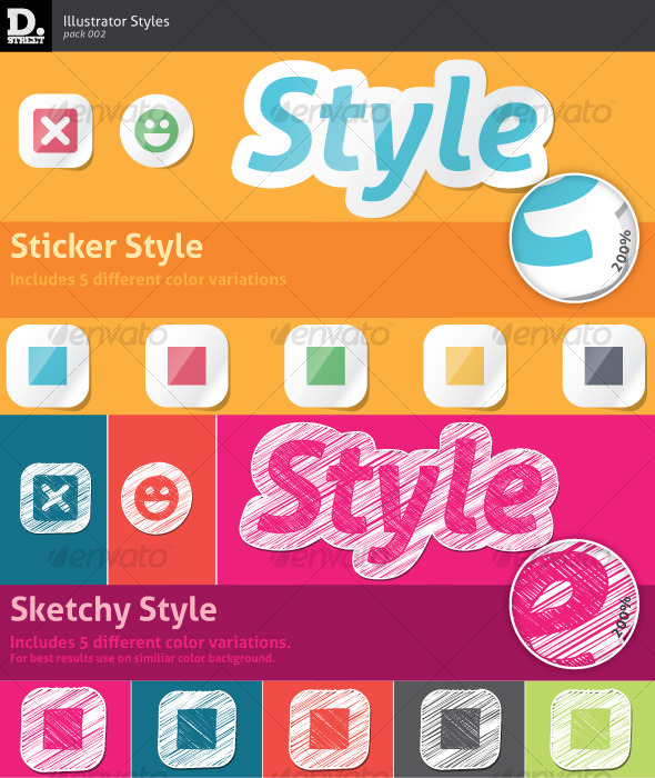 Sticker & Sketchy Illustrator Styles - Styles Illustrator