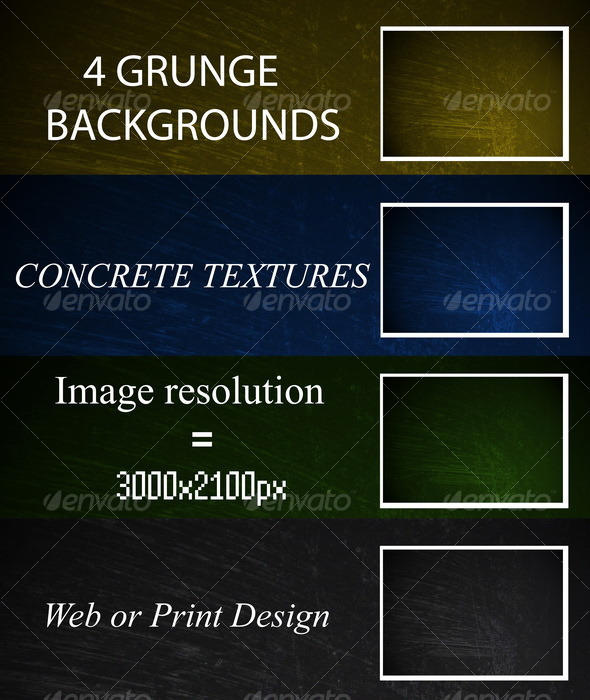 4 GRUNGE BACKGROUNDS - Industrial / Grunge Textures