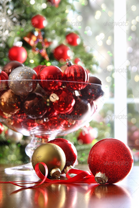 Red Christmas balls on table - Stock Photo - Images