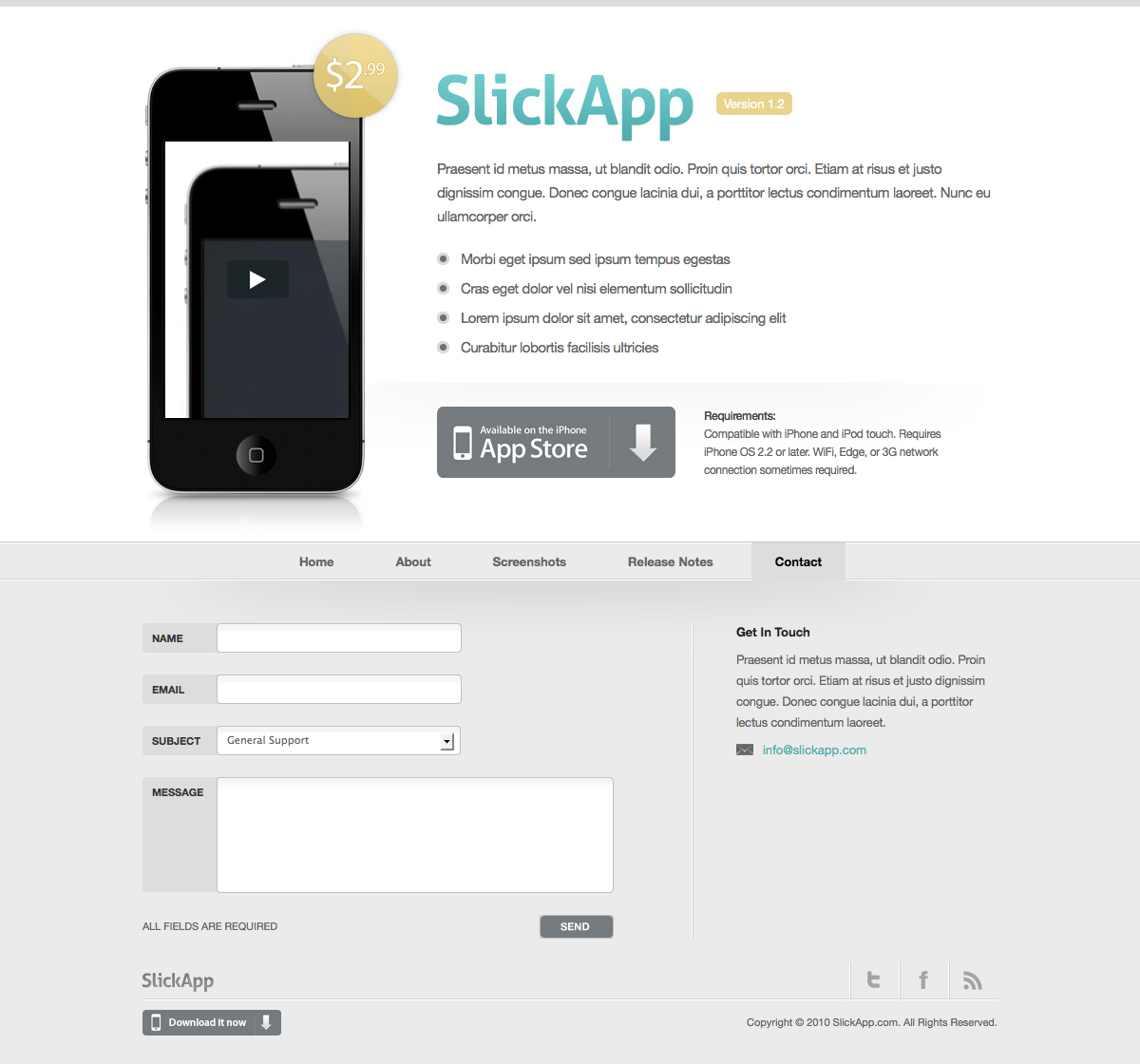 SlickApp - iPhone / Mobile App Website Theme - Contact page with working ajax contact form and validation.