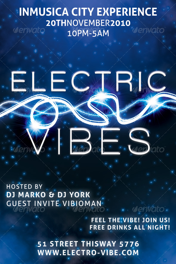 Electric Vibes Music Flyer - Clubs & Parties Events