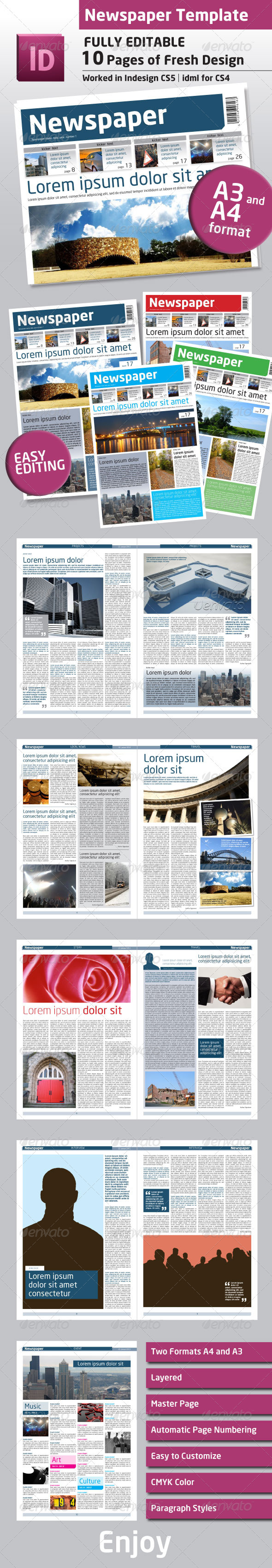GraphicRiver Newspaper Template A4 and A3 Format 10 Pages 924381