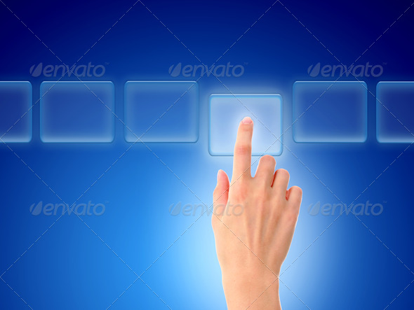 Hand pressing a button. - Stock Photo - Images