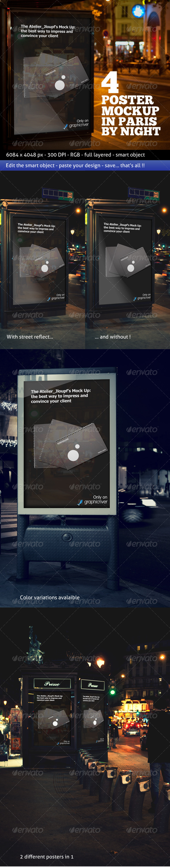Photorealistic Poster Mockup In Paris By Night - Signage Print