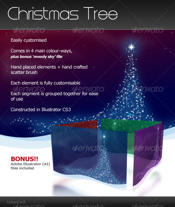 Vectors : Christmas Tree Landscape GraphicRiver 123027 - Decorative Backgrounds