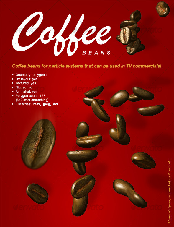 3DOcean Coffee Bean for Particle Systems 3Ds max 3D Models -  Food and drinks 123501