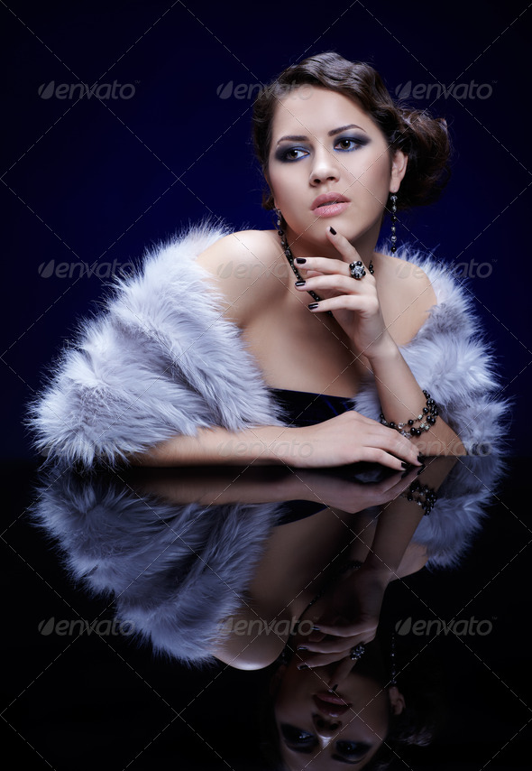 woman in fur - Stock Photo - Images