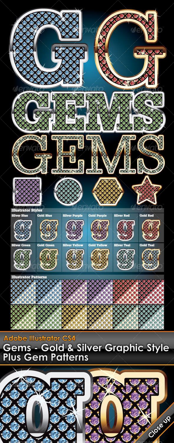 Gems Illustrator Graphic Styles - Styles Illustrator