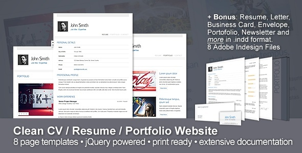 ThemeForest Clean CV Resume Portfolio Website & 10 Bonuses 124172