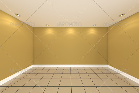 Home interior rendering with empty room color wall stock photo by sumetho - Home interior wall ...