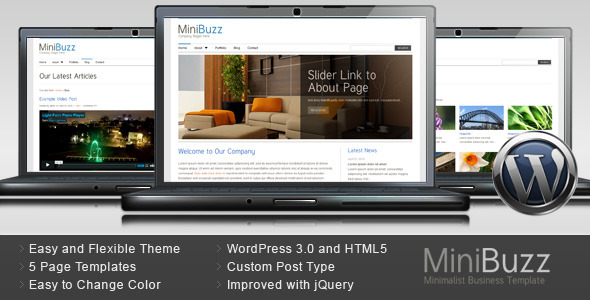 ThemeForest MiniBuzz Minimalist Business WordPress Theme 101548
