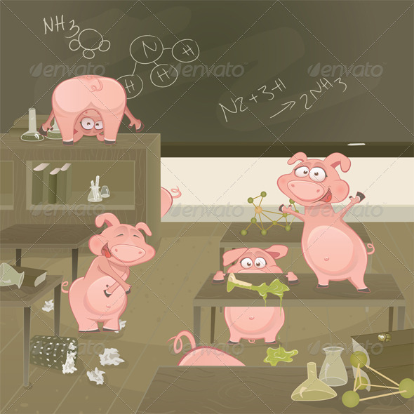 Pigs Gone Wild Vector Illustration - Characters Vectors