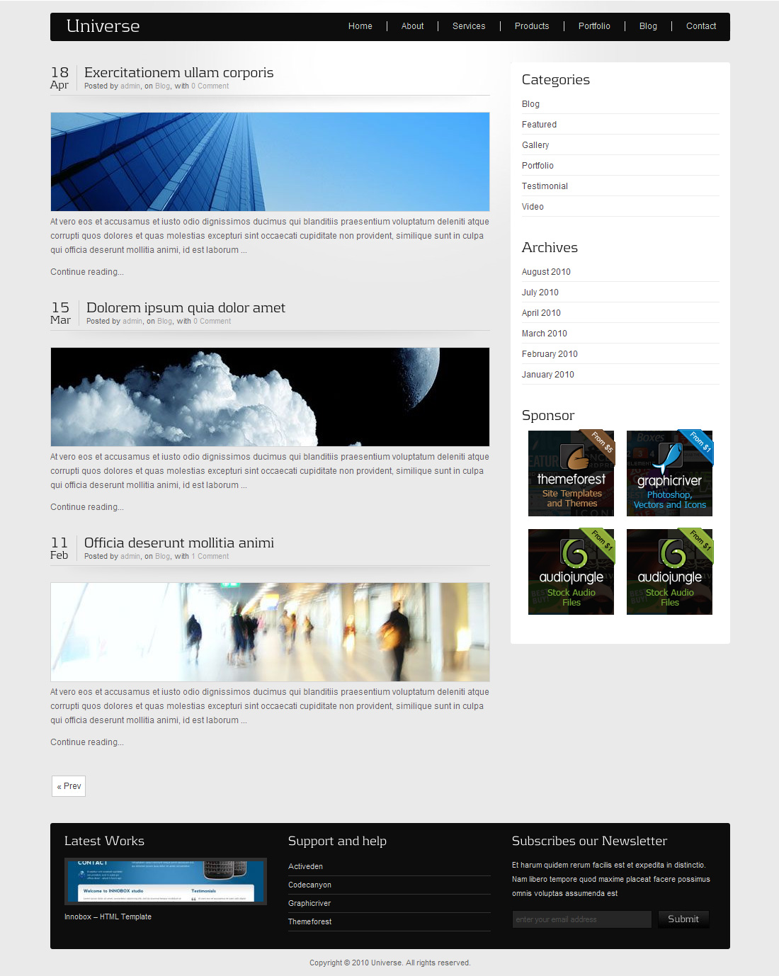 Universe - Corporate Business Wordpress Theme 2