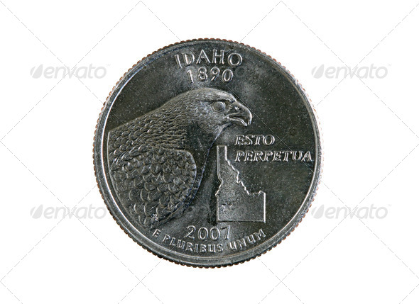 isolated Idaho quarter - Stock Photo - Images