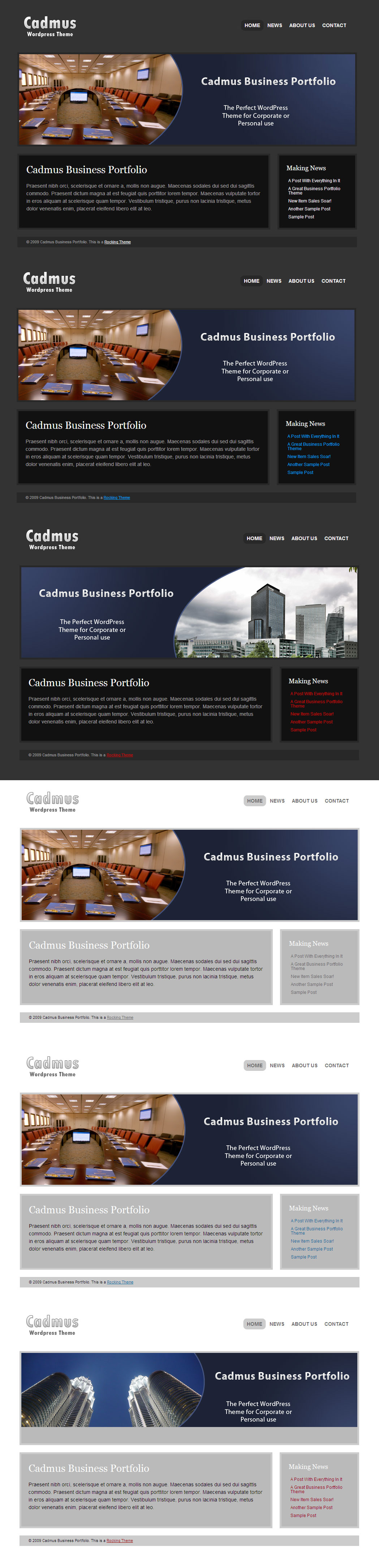 Cadmus Business Portfolio - 6 in 1 WordPress Theme - 6 Colour Schemes available to choose from. Easily changed form the Theme Options Page
