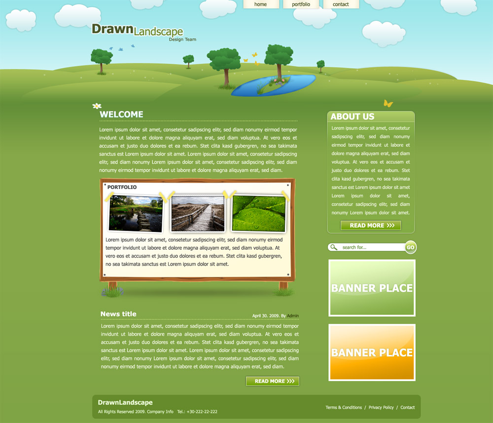Drawn Landscape PSD Template