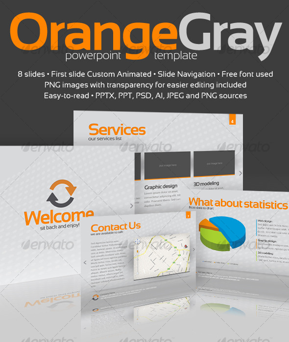 Graphic River Orange Gray Powerpoint Template Presentation Templates -  Powerpoint Templates 127053