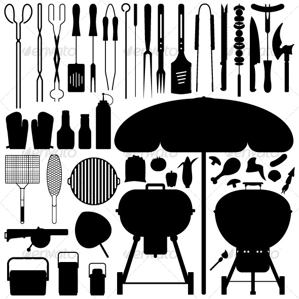 Barbecue BBQ Silhouette Set Vector - Man-made objects Objects