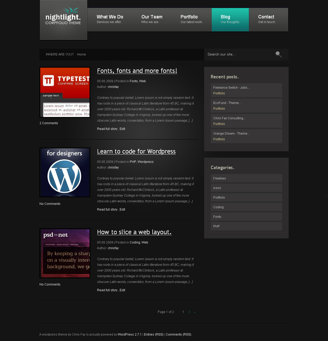 nightLight - Wordpress Theme - Blog Page