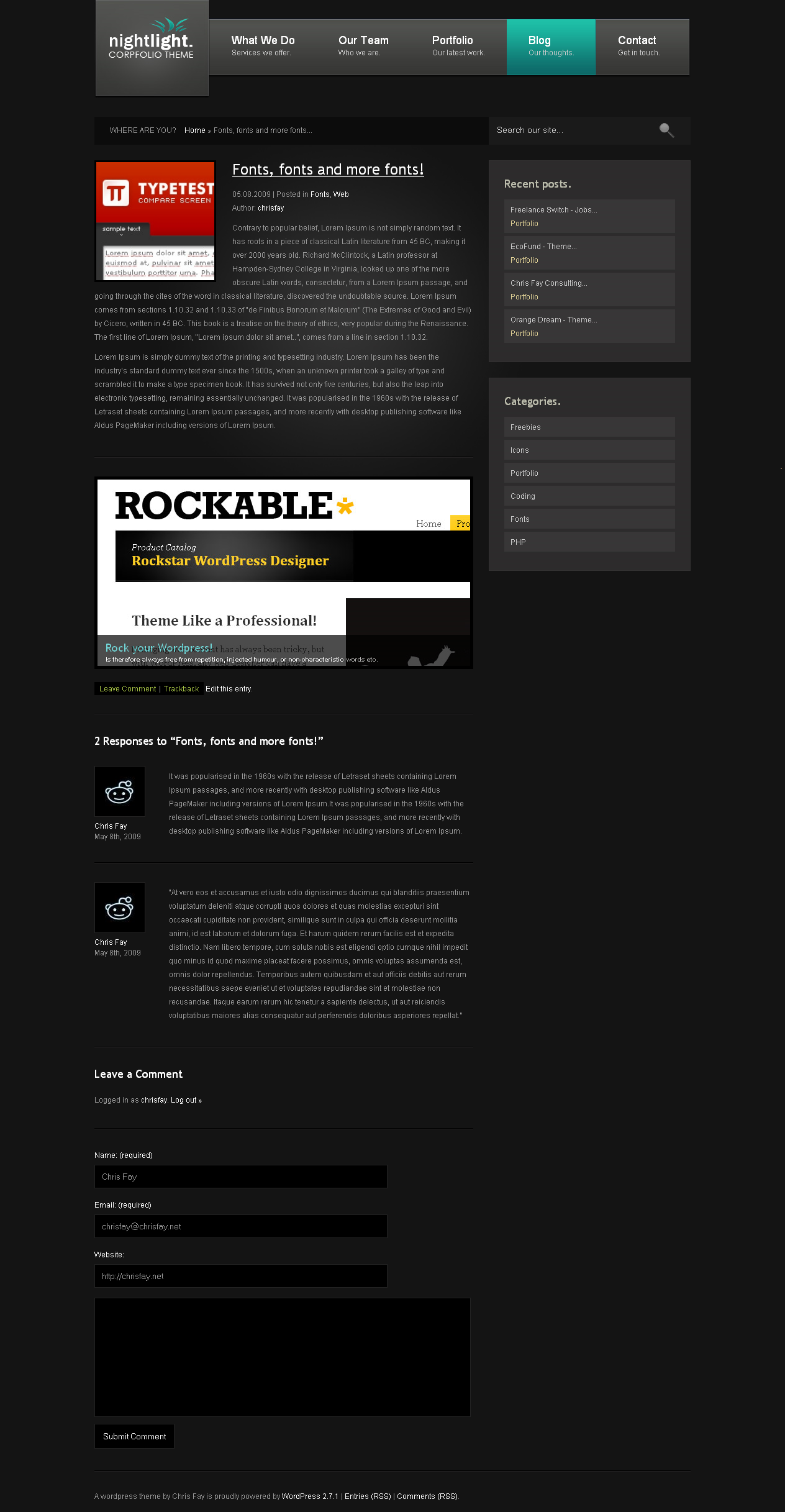 nightLight - Wordpress Theme - Single Blog Entry Page