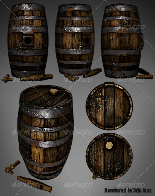 3DOcean Lowpoly Wooden Wine Barrel 127481