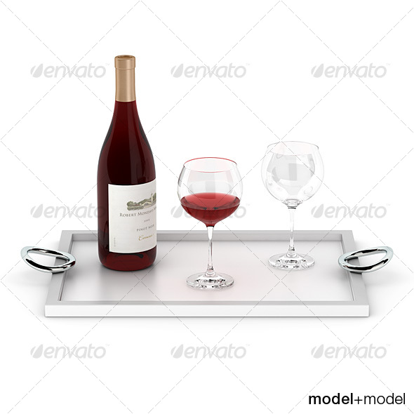 3DOcean Wine set on the Christofle Vertigo tray 127681