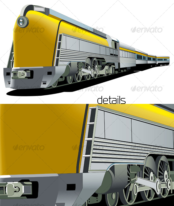 GraphicRiver Yellow old-fashioned train 127688