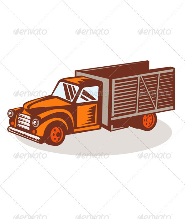 Graphic River Vintage Farm Pickup Truck Retro Style Vectors -  Objects 1017352