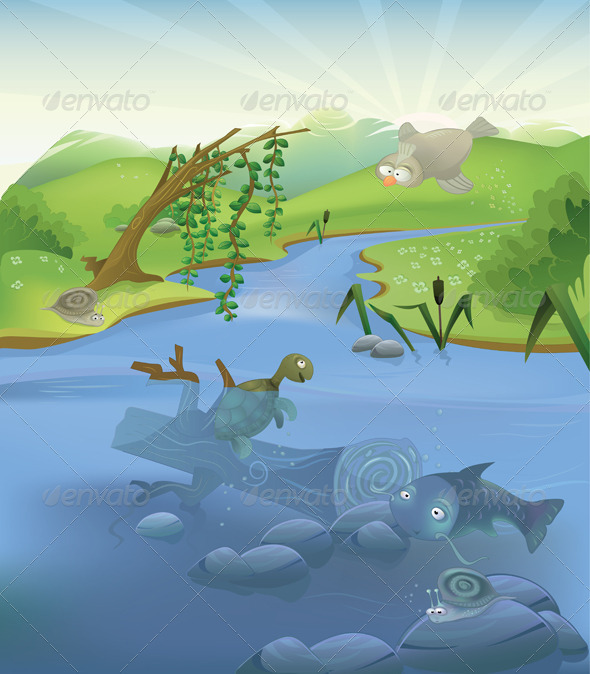 Vector landscape with animals - Landscapes Nature