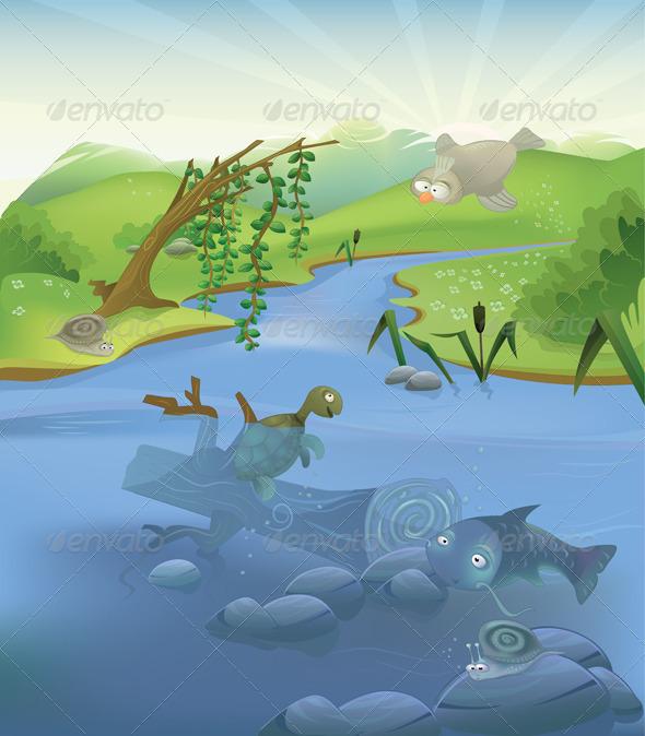 Graphic River Vector landscape with animals Vectors -  Conceptual  Nature  Landscapes 1018179