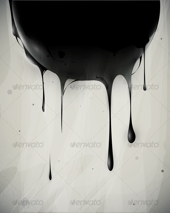 Abstract oil slick flows with drops - Abstract Conceptual