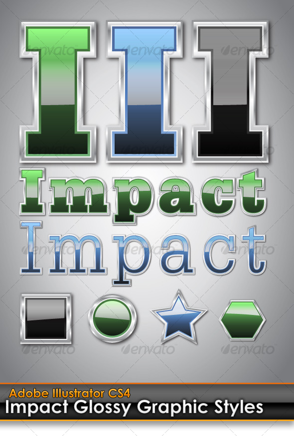 Impact Glossy Illustrator Graphic Styles - Styles Illustrator