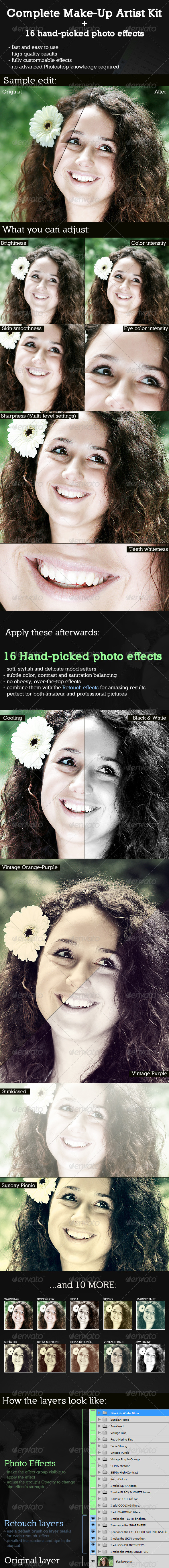 Complete Make-Up Artist Kit GraphicRiver - Add-ons -  Photoshop  Actions  Photo Effects 1020480