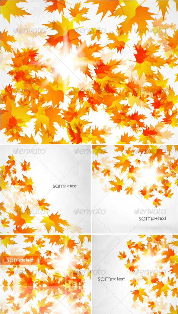 Flying autumn leaves. Vector background pack - Seasons/Holidays Conceptual