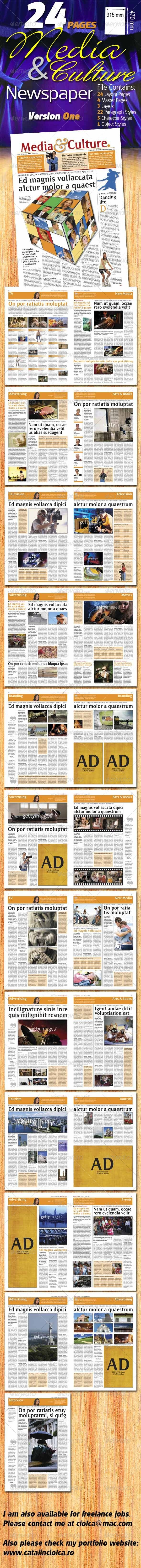 GraphicRiver 24 Pages Media & Culture Newspaper Version One 1022686