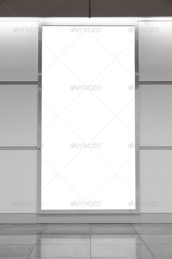 Vertical blank billboard on wall - Stock Photo - Images