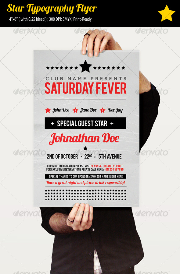 Star Typography Party Flyer - Clubs & Parties Events